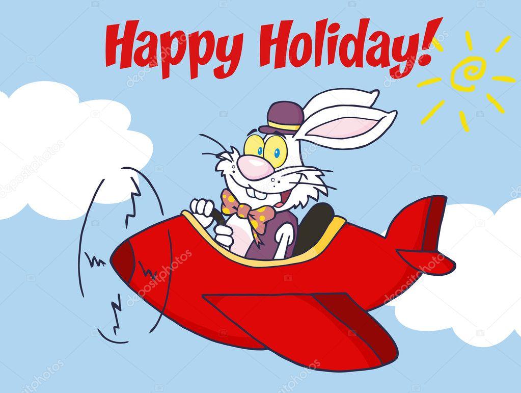 Frohe Weihnachten Flugzeug.Frohe Weihnachten Gruss Uber Ein Osterhase Eine Rote Flugzeug