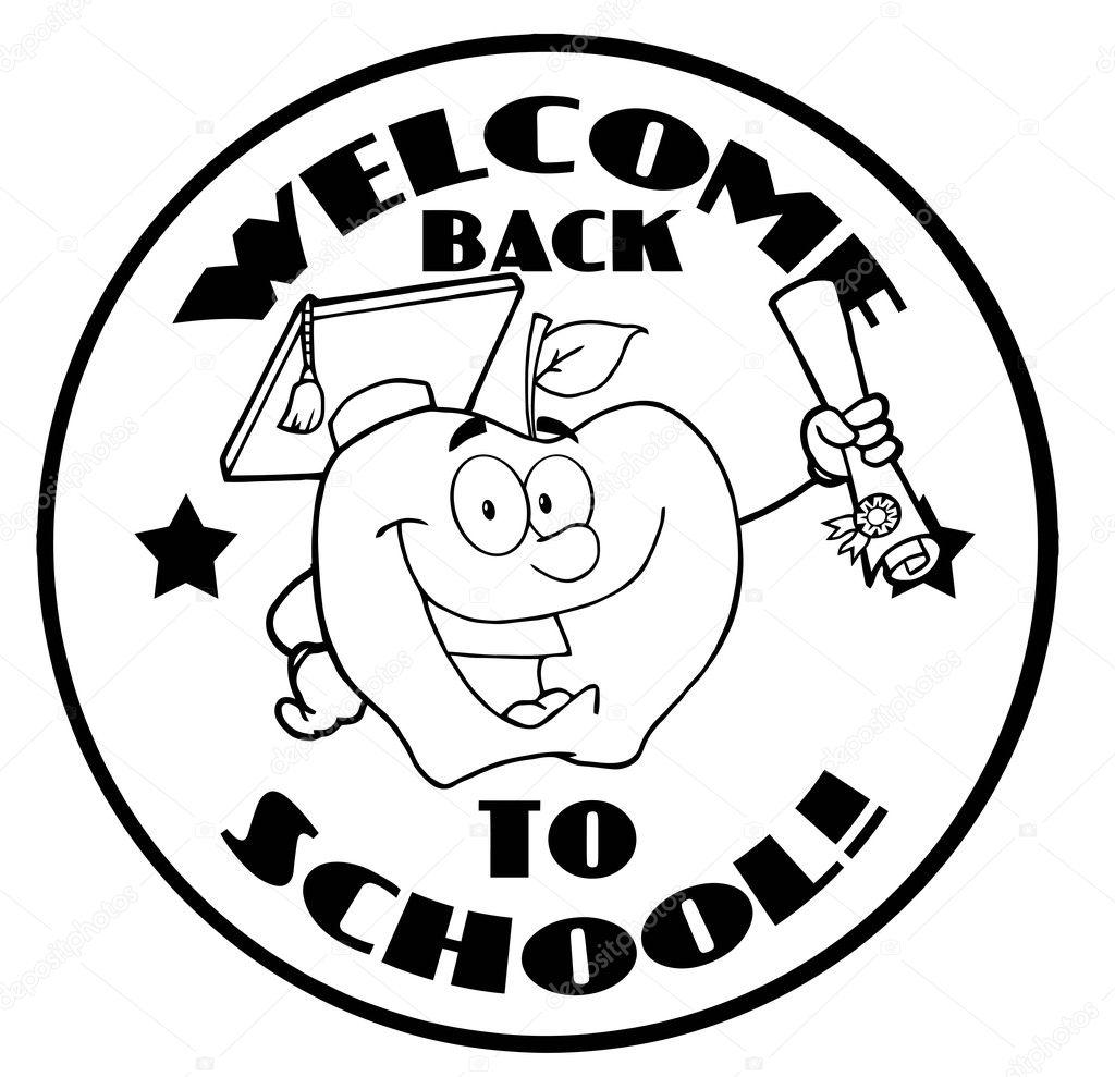 Preto e branco bem vindo de volta apple crculo e aluno de escola preto e branco bem vindo de volta apple crculo e aluno de escola thecheapjerseys Images
