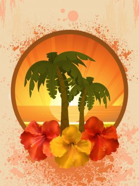 Hibiscus flowers and palm trees
