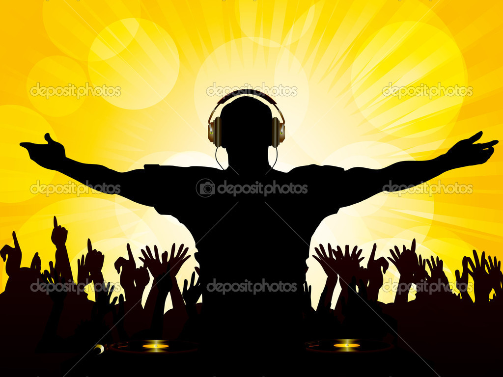 DJ And Crowd On Yellow Background Stock Vector
