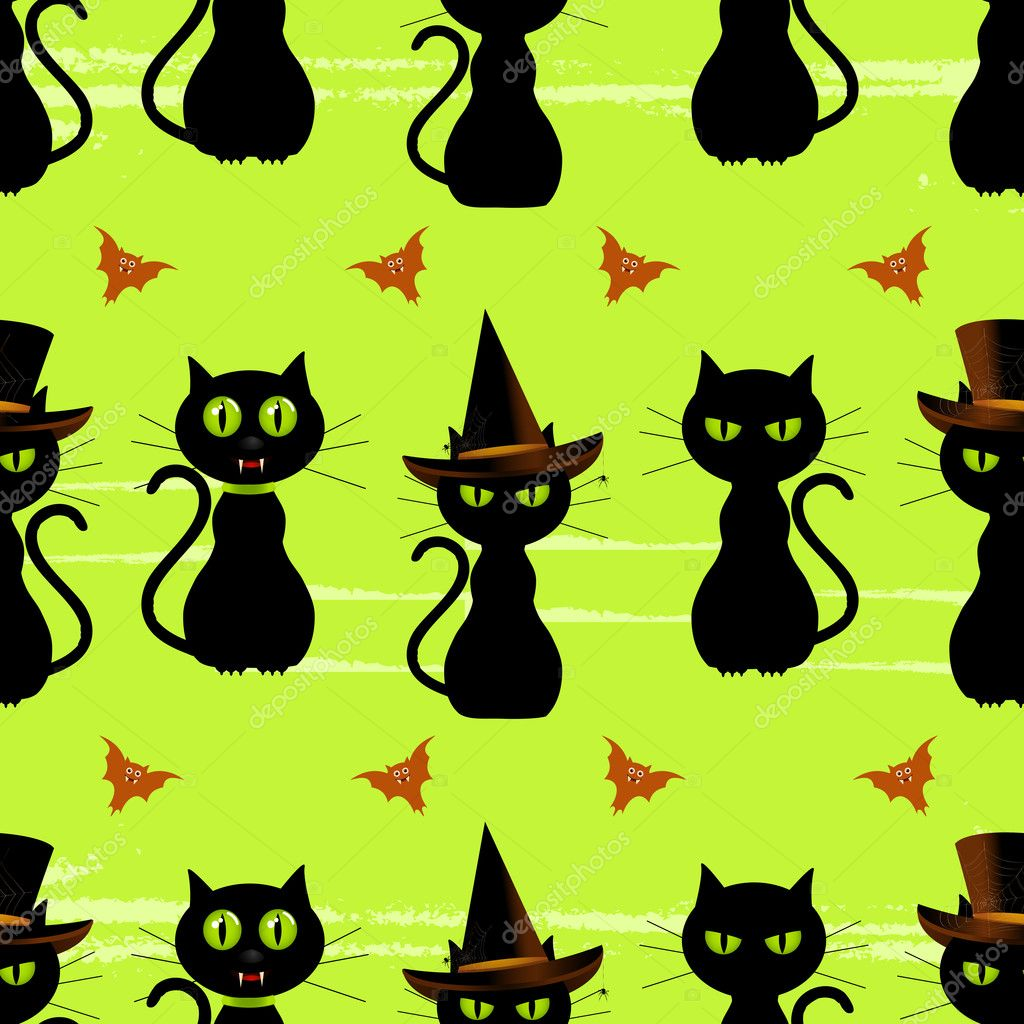 Halloween Cat Backgrounds Halloween Black Cat Seamless Background Stock Vector C Elaineitalia 7660337