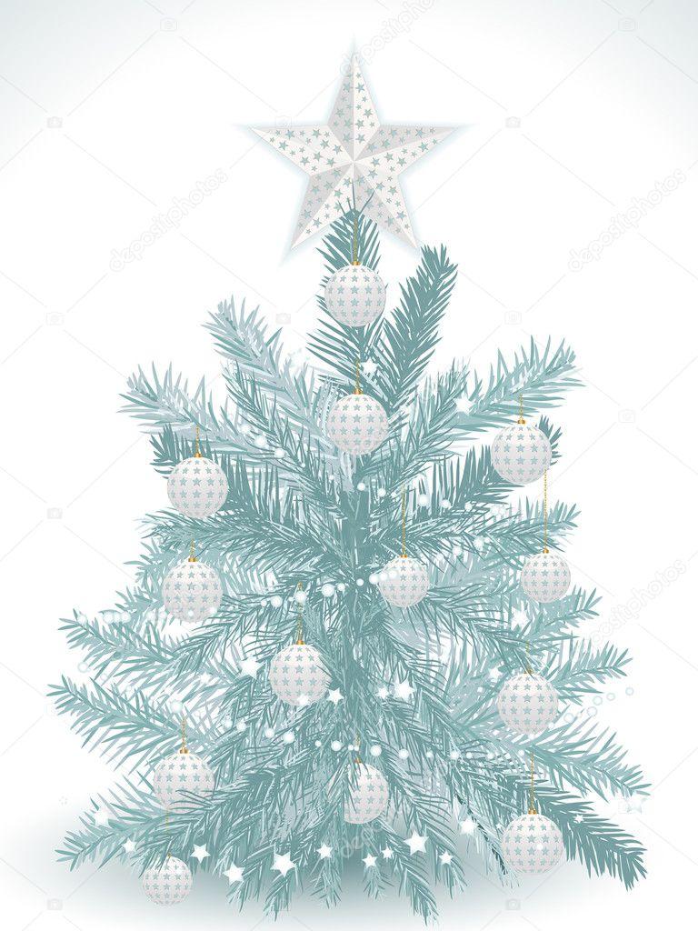 weihnachtsbaum hintergrund und wei en kugeln stockvektor. Black Bedroom Furniture Sets. Home Design Ideas