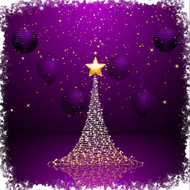 Purple and gold Christmas tree background2