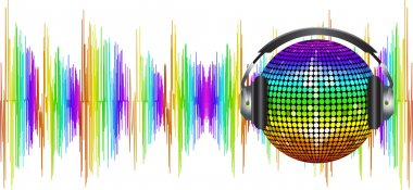 Spectrum sound waves and disco ball