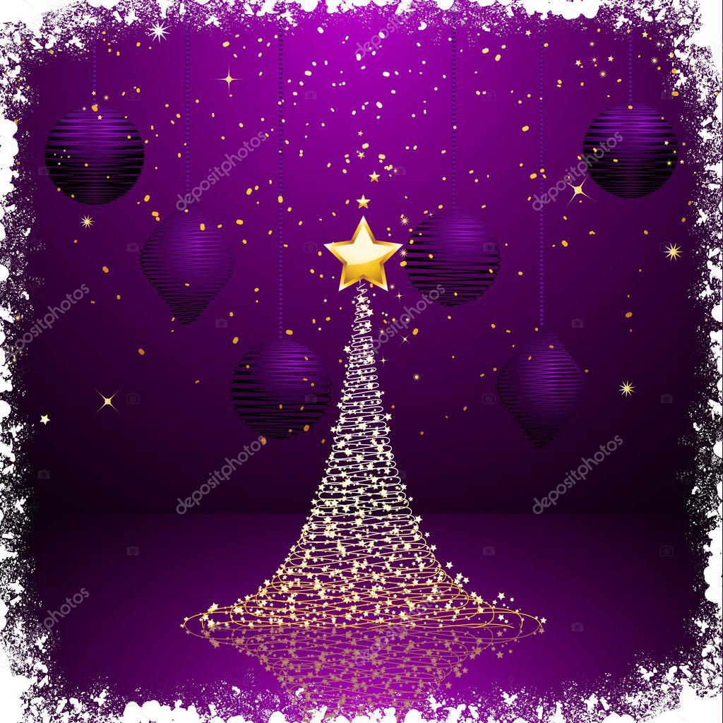 lila und gold weihnachtsbaum background2 stockvektor. Black Bedroom Furniture Sets. Home Design Ideas