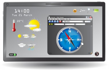 Weather forecast page on touchscreen tablet ,vector clip art vector