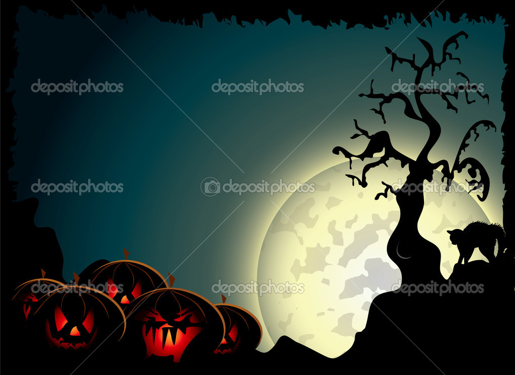 Halloween background with spooky pumpkins and black cat