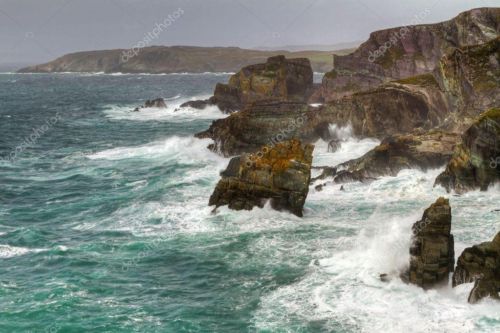 Irish coast with huge waves
