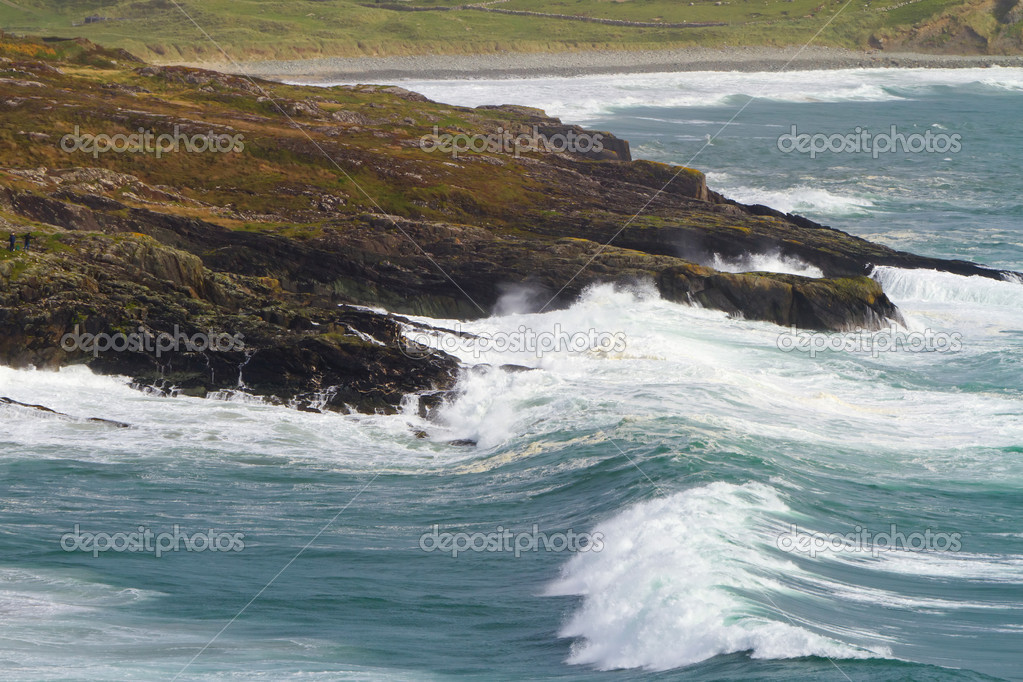 Irish coast with huge waves