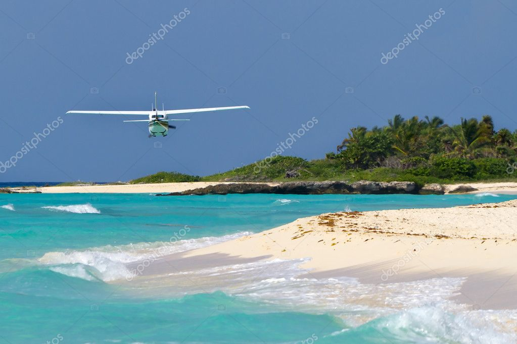 Tair, aircraft, airliner, airplane, aviatiourist plane over Caribbean beach