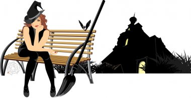 Sitting witch on the wooden bench. Halloween composition