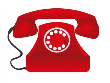 Red telephone over white table background. vector stock vector