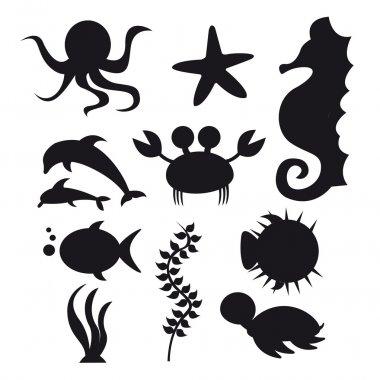 silhouette sea animals