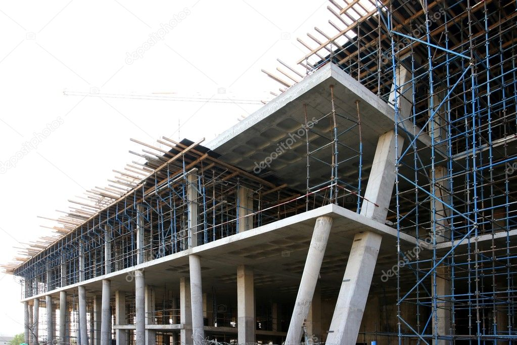 modern concrete building construction stock photo