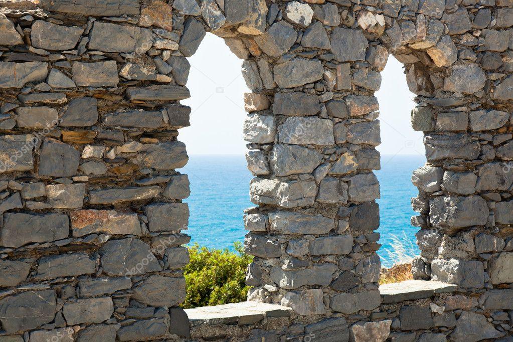 Old stone castle windows
