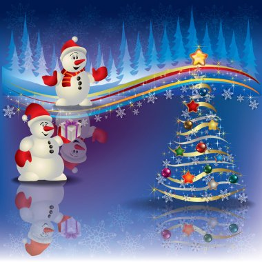 Christmas background with snowmen and tree