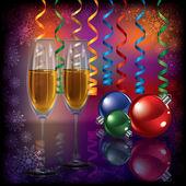 Vánoční pozdrav s šampaňským a dekorace