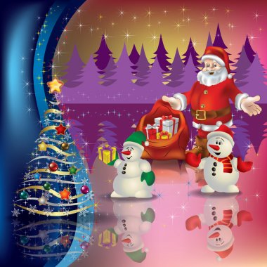 greeting with Santa and Christmas tree