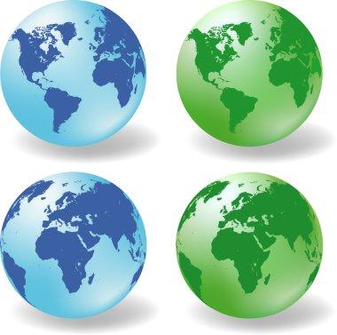 Glossy Earth Globes vector