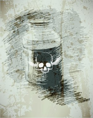 Bank with poison. A dangerous liquid. sketch