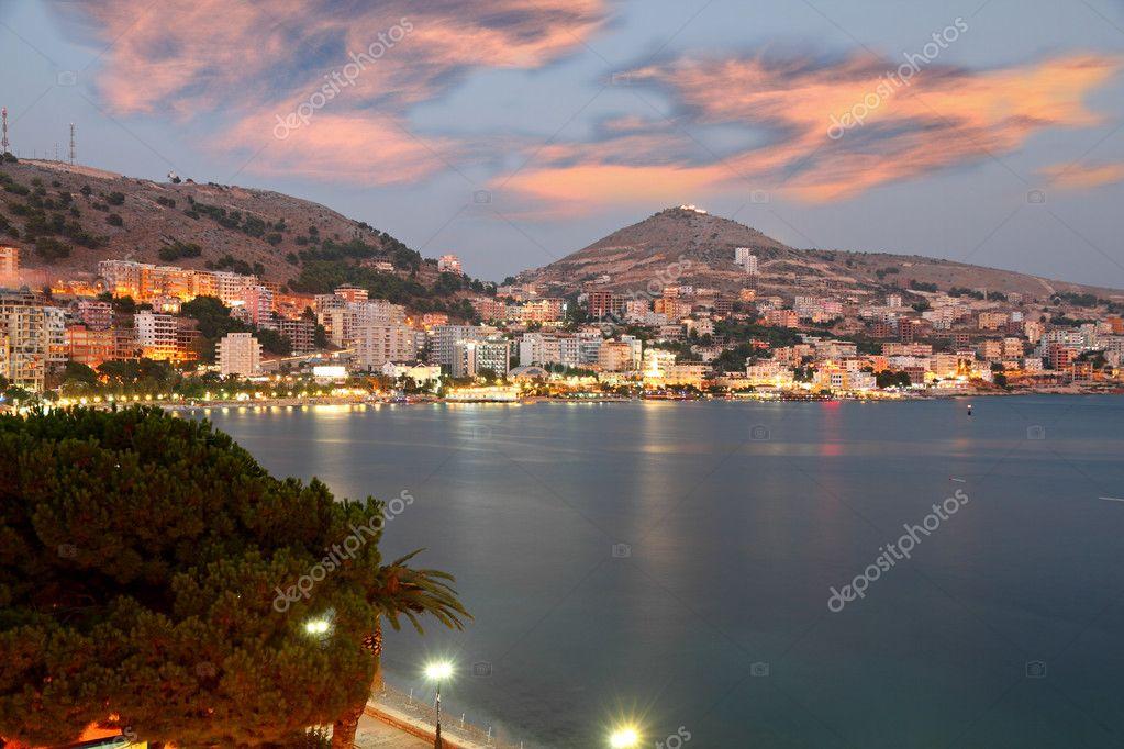 City of Saranda in Albania at sunset