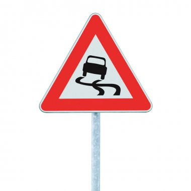 Slippery when wet road sign, isolated signpost and traffic signage