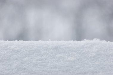 Fresh Snow Texture Background Closeup, Large Detailed Macro Pattern, Gentle Bokeh, Horizontal