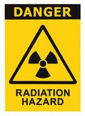 Fotografie Radiation hazard symbol sign of radhaz threat alert icon, black yellow triangle signage text isolated