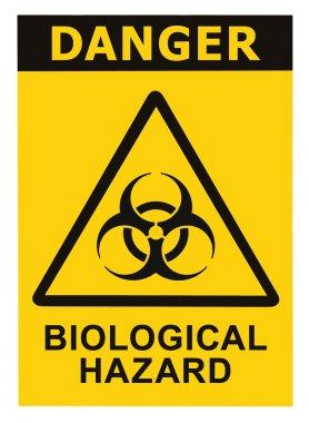 Biohazard symbol sign of biological hazard danger threat alert, black yellow triangle signage text isolated, large detailed macro closeup