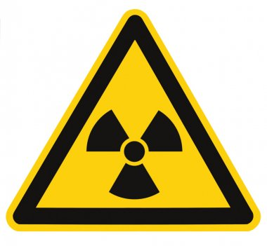 Radiation hazard symbol sign of radhaz threat alert icon label, isolated black yellow triangle signage macro, large detailed closeup