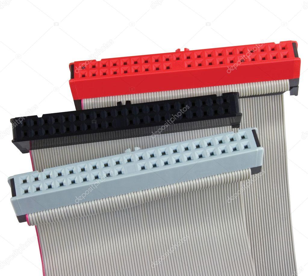 PC-Ide-Anschlüsse und Flachbandkabel zur Festplatte — Stockfoto ...