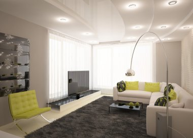 Modern interior design with furniture