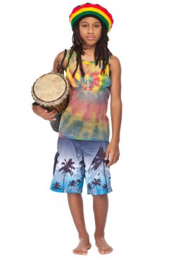 Rasta boy in traditional clothes with conga
