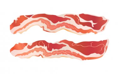 Cooked bacon strips for continental breakfast isolated stock vector