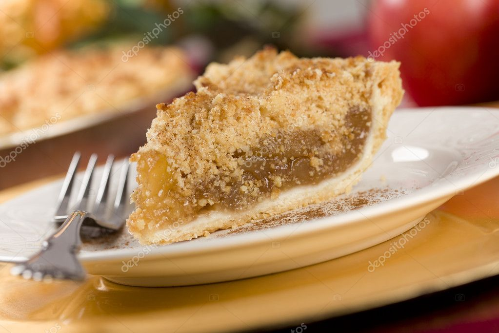 Apple Pie Slice with Crumb Topping