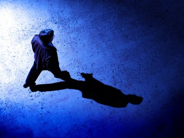 Man Alone at Night on Street