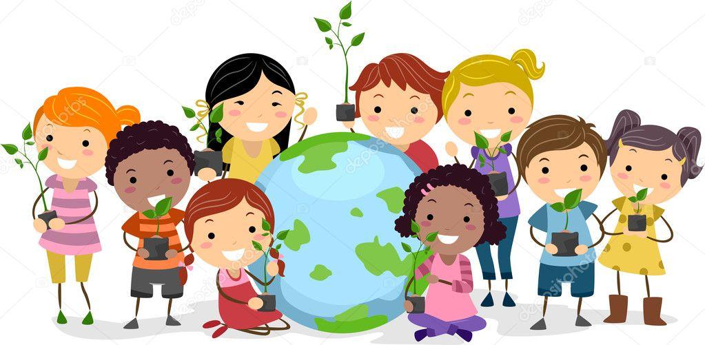 Enfants représentant des groupes ethniques différents ...