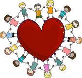 děti kolem srdce