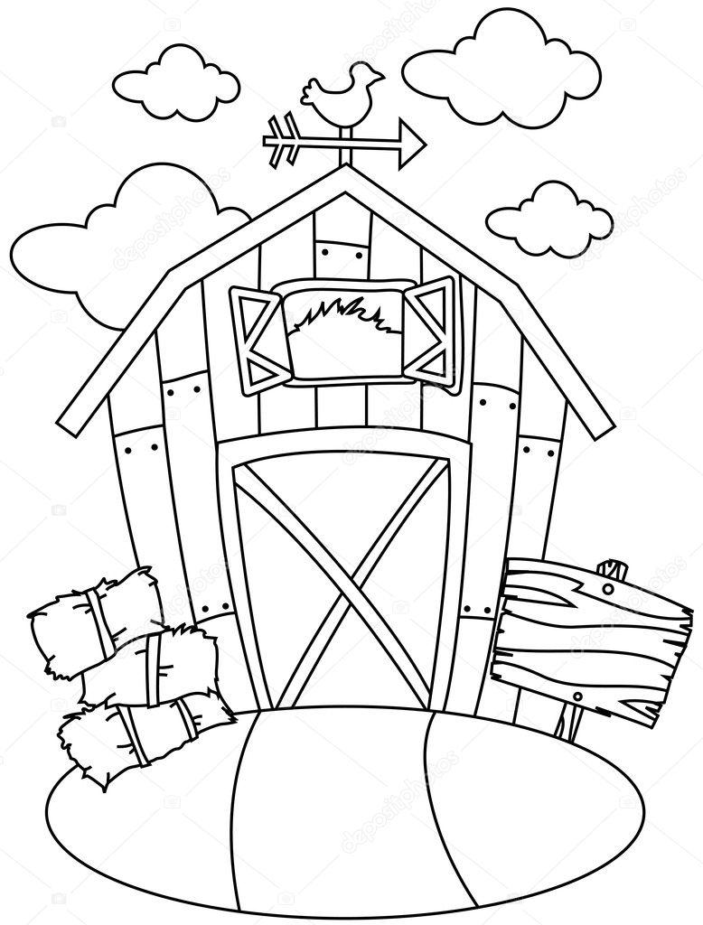 Lijn Kunst Schuur Huis Stockfoto C Lenmdp 7599728