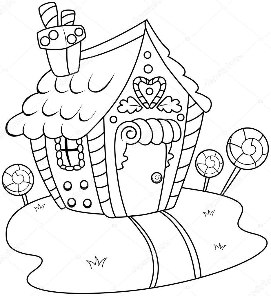 Linie Kunst Lebkuchenhaus Stockfoto Lenmdp 7599730