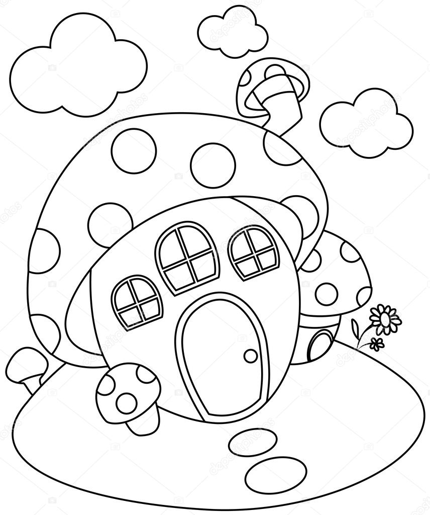 Line Art Mushroom House Stock Photo C Lenmdp 7599784