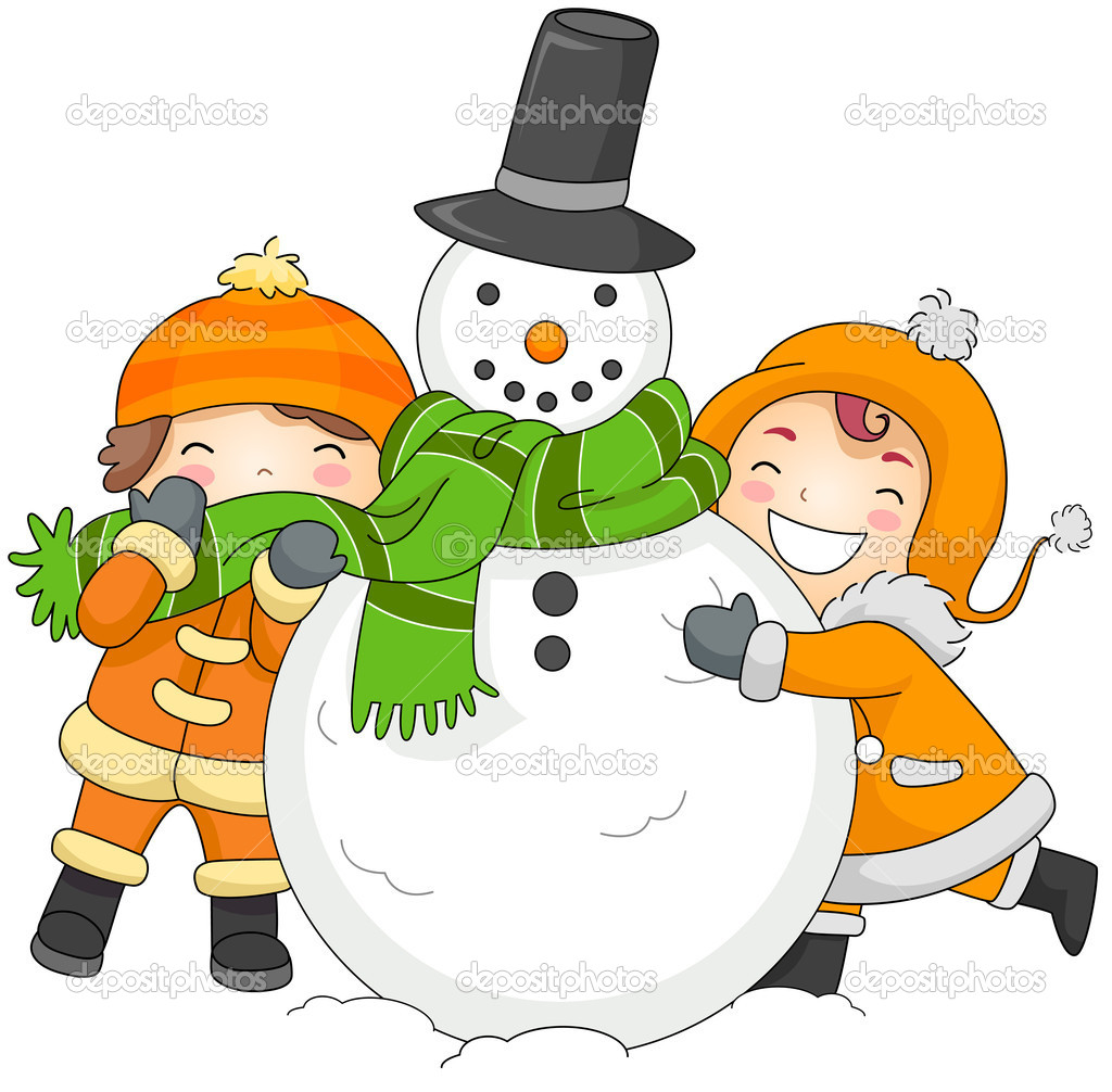 kids playing with a snowman u2014 stock photo lenmdp 7601653