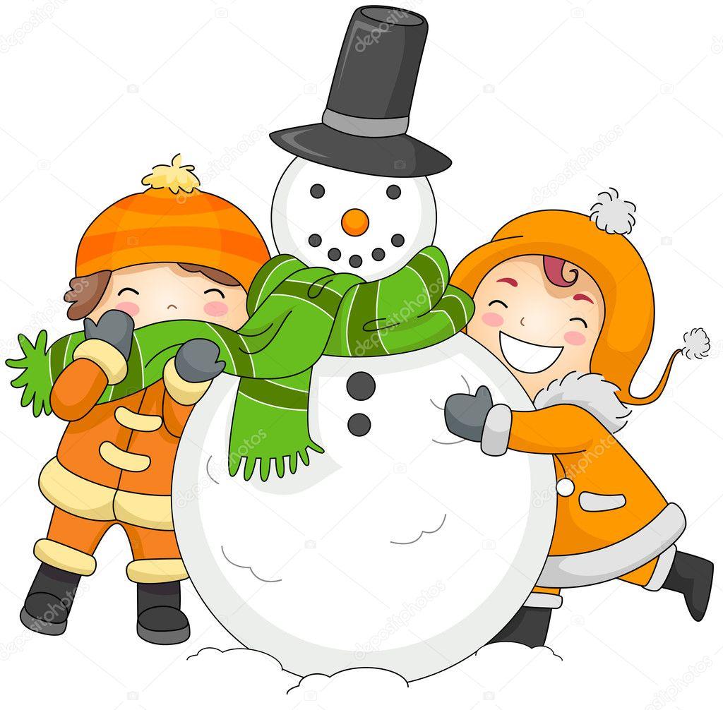 Ninos Jugando Con Un Muneco De Nieve Foto De Stock C Lenmdp 7601653