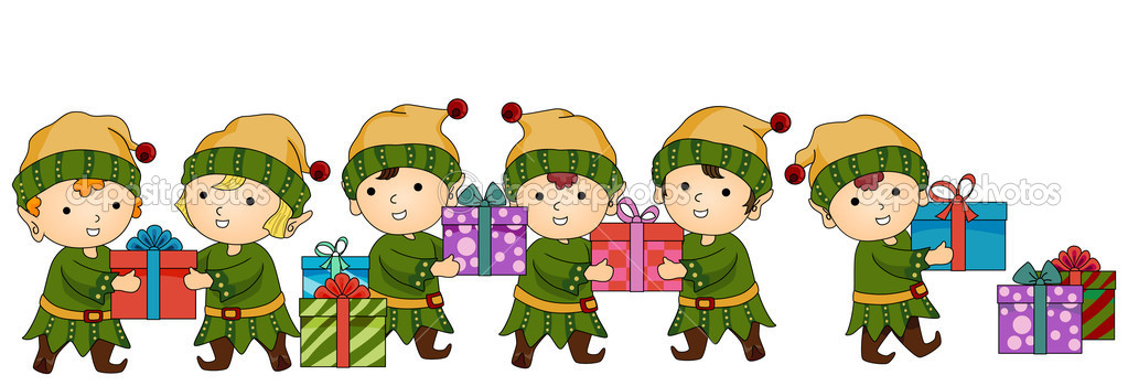 Christmas Elves working — Stock Photo © lenmdp #7734007