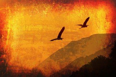Art grunge background with flying birds
