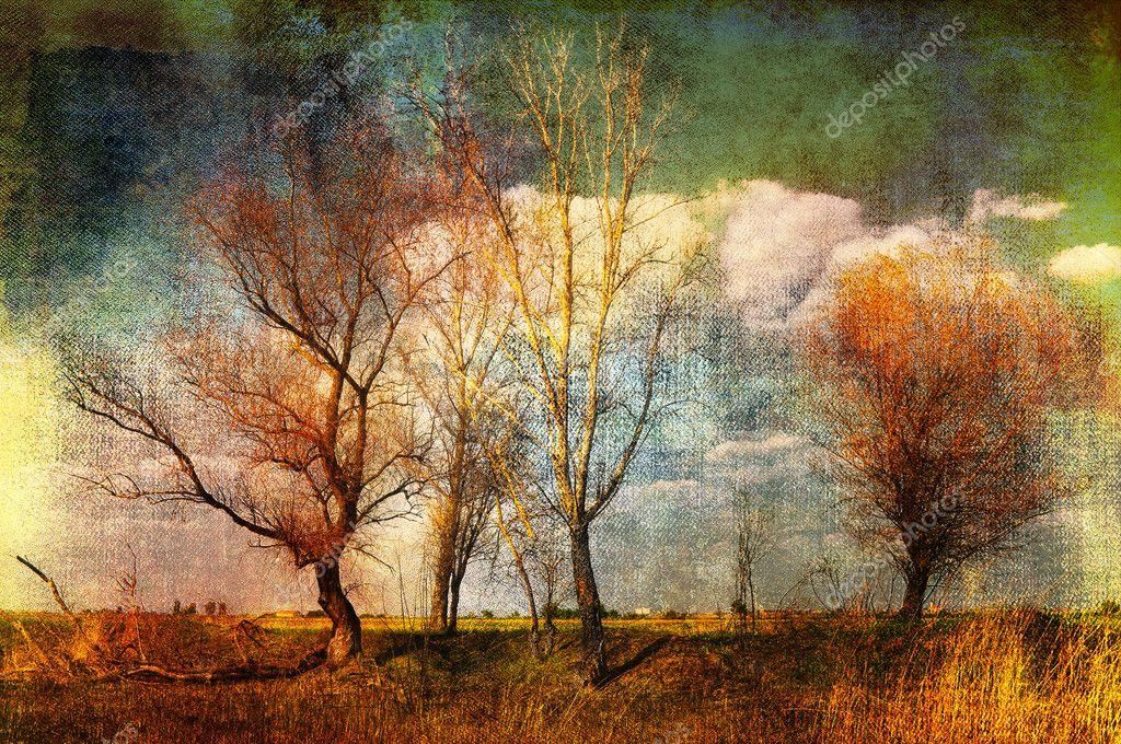 Art grunge landscape background