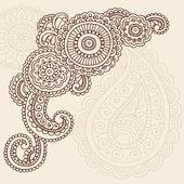 Fotografia Henna mehndi pasiley vettore di scarabocchi fiori