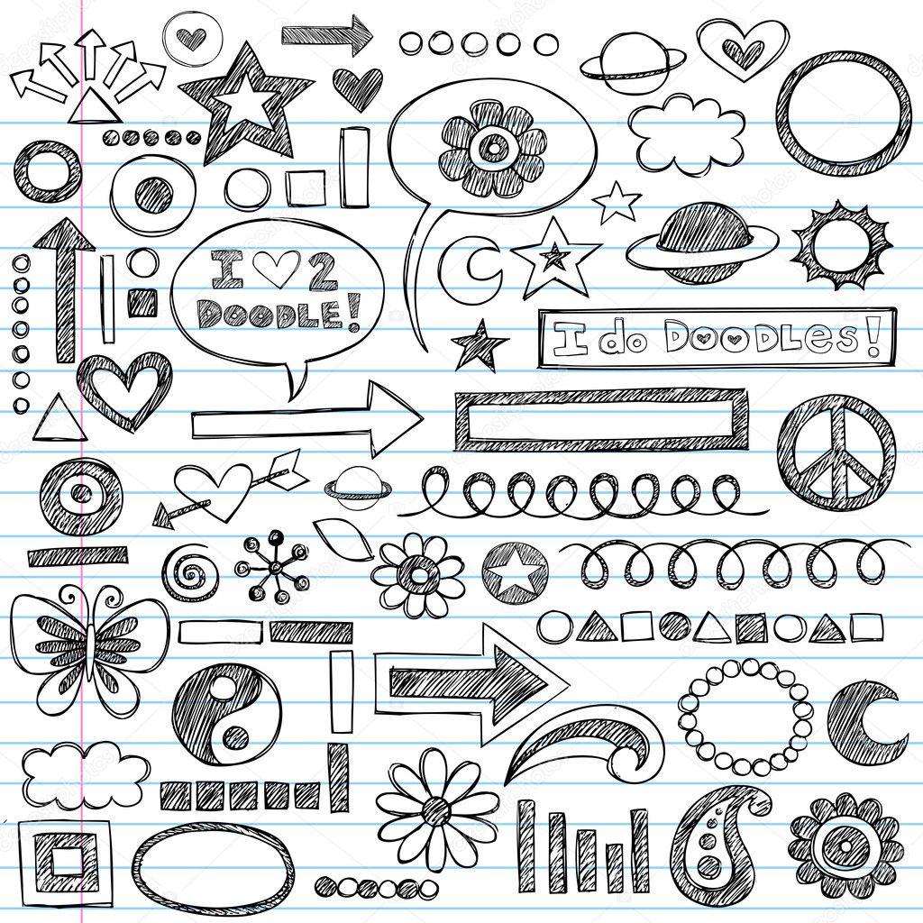 Sketchy Back to School Notebook Doodles — Stock Vector ...