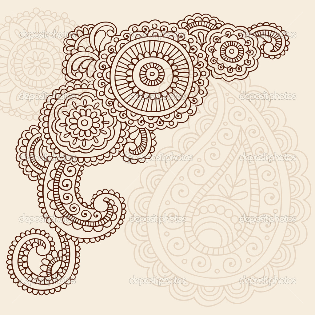 henna mehndi pasiley flowers doodles vector u2014 stock vector