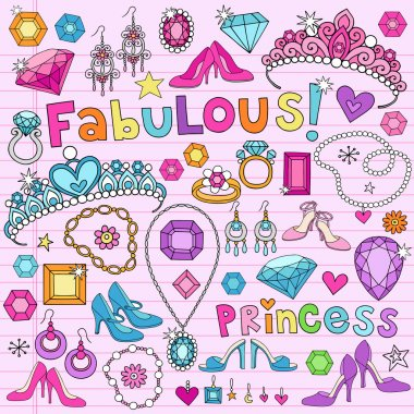 Princess Notebook Doodles Vector Illustration Design Elements